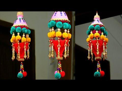 How to Make Wind Chime/Wall Hanging at Home | New way to reuse Plastic Bottle /Wool craft