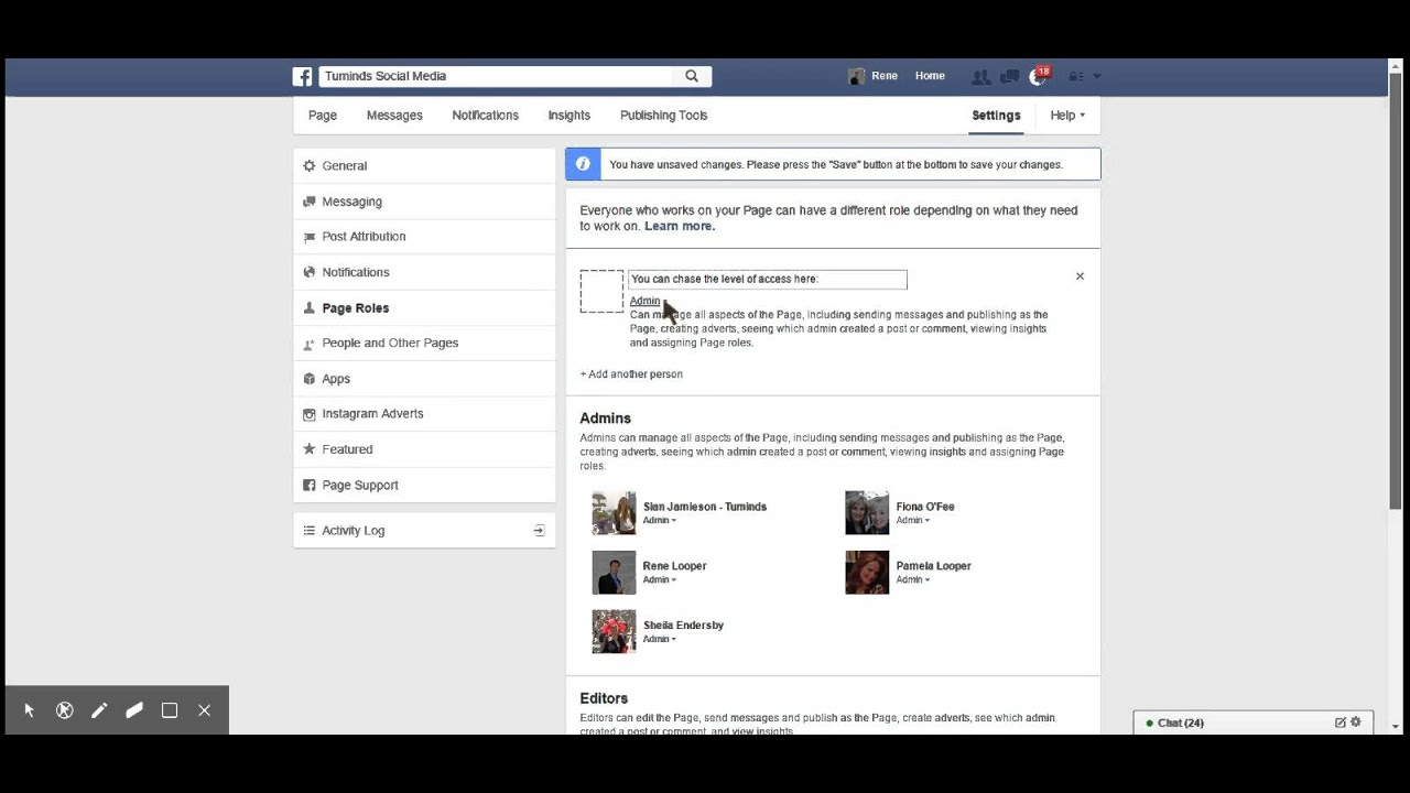 how to delete admin from facebook page
