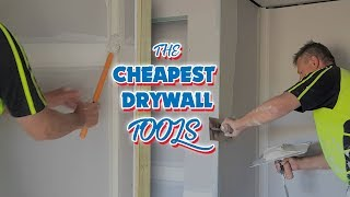 Drywall Construction Workers Tape in with a Toilet Brush like a Pro