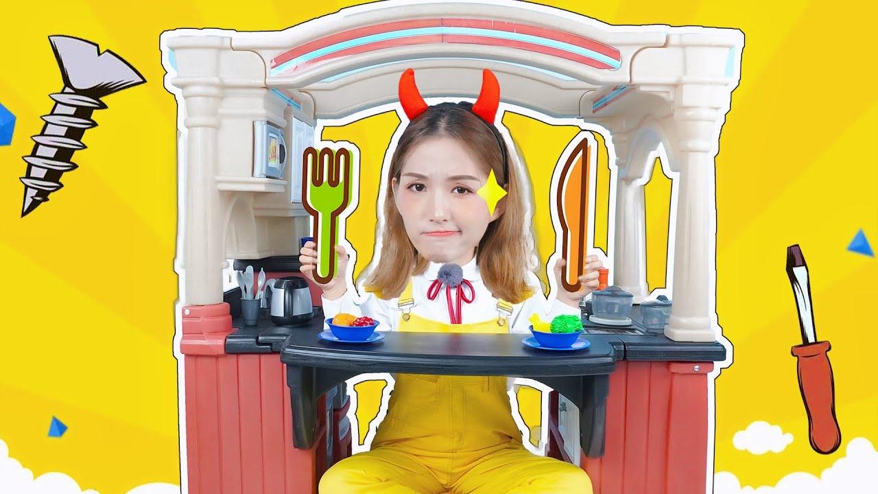 超豪華的立體廚房拆箱!晶晶姐姐能完成嗎?玩具開箱