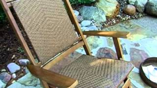 Willow Bay Folding Resin Wicker Rocking Chair Walnut - Product Review Video