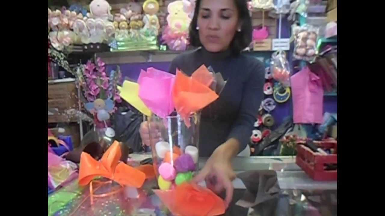 Centro de mesa con flores manualidades devero youtube - Manualidades en carton ...