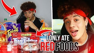 I Only Ate RED FOODS For 24 HOURS! (worst idea...)