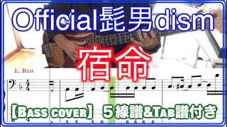 Official髭男dism / 宿命【Bass cover】5線譜&Tab譜付き