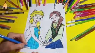 Karlar ülkesi  Kraliçe Elsa ve Prenses Anna Boyama - Disney Frozen Elsa and Anna Coloring Pages
