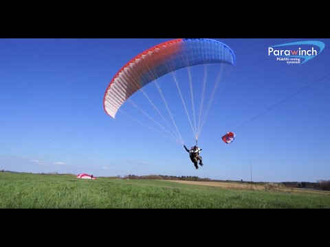 Tandem Paragliding Winch towing passangers