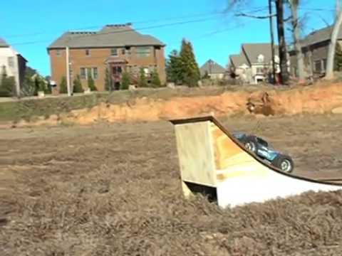 rc monster truck jump a ramp youtube. Black Bedroom Furniture Sets. Home Design Ideas