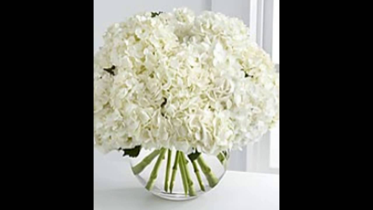 White Hydrangea Centerpieces - YouTube