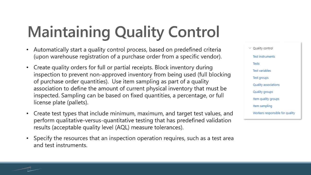 Quality Management in Dynamics 365 Finance and Supply Chain