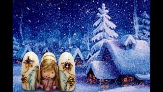 Рождественский ангел на ногтях. Красивые рисунки на ногтях. Новогодний маникюр