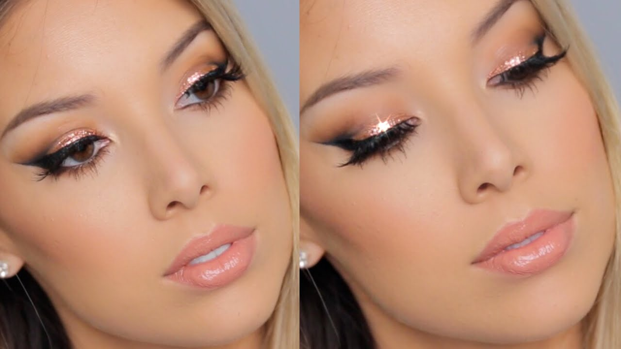 Copper glitter winged liner tutorial lustrelux youtube baditri Image collections