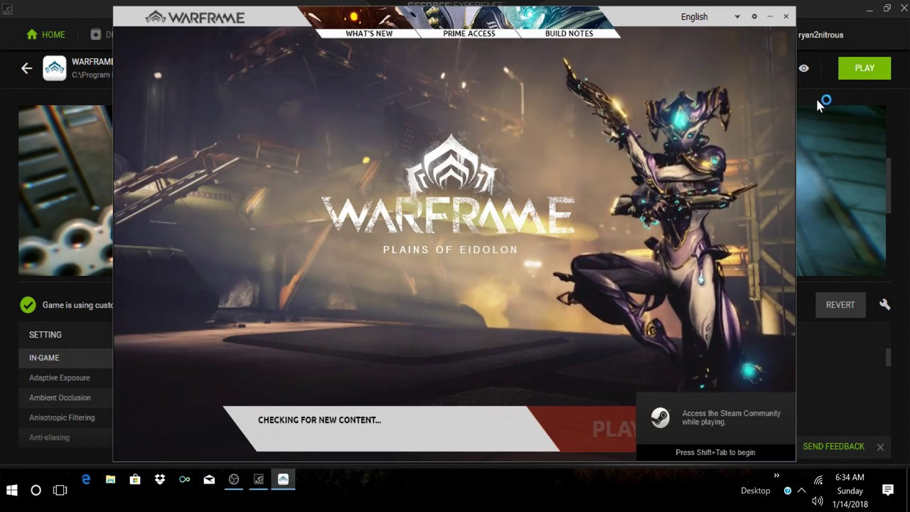 How To Change Game Setting Using GeForce Experience   Warframe in 4K