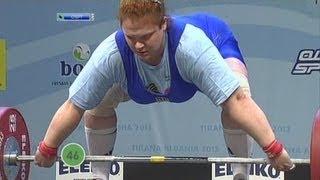 Women +75 kg snatch European Weightlifting Championships Tirana 2013