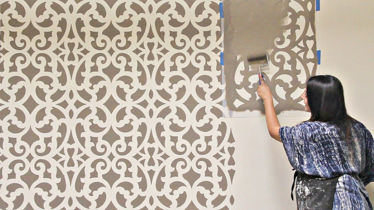 How To Stencil An Accent Wall In Only 1 Hour Painting A Wallpaper Pattern With Wall Stencils