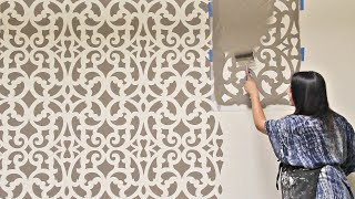How to Stencil an Accent Wall in Only 1 Hour! Painting a Wallpaper Pattern with Wall Stencils