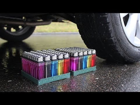 100 LIGHTERS vs CAR