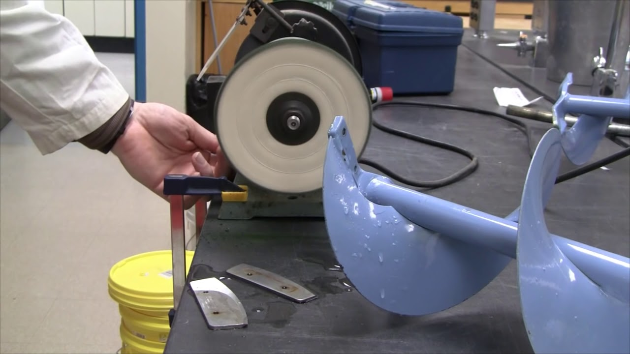 Sharpening ice fishing hand augers - Foolproof method