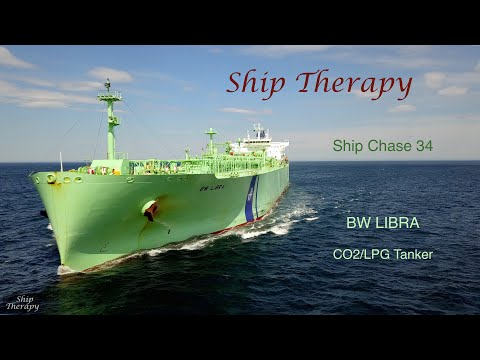 Ship Chase 34 - BW Libra - CO2/LPG tanker - with all radio calls - Mavic Pro 4K
