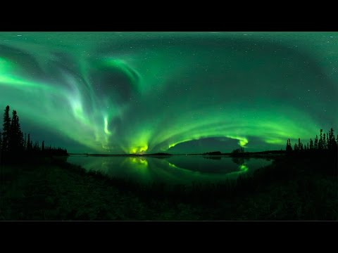 360 VR timelapse footage of the Aurora Borealis over Kashwitna Lake, Alaska
