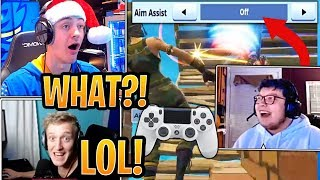 Ninja and Tfue in SHOCK Seeing Aydan with NO Aim-Assist! - Fortnite Best and Funny Moments