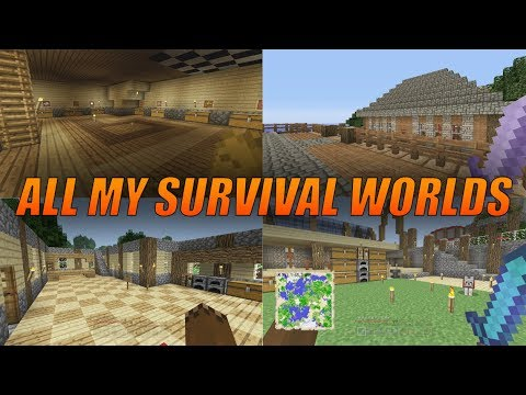 ALL OF MY MINECRAFT SURVIVAL WORLDS!! - Minecraft Console Edition Survival