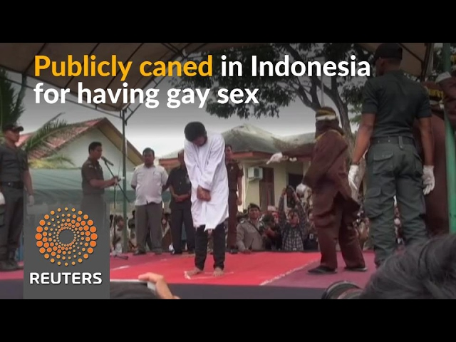 Two men publicly caned for gay sex in Indonesia