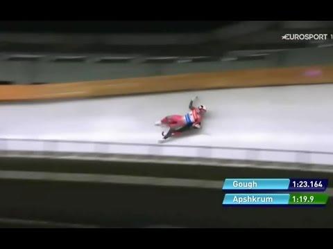 Brooke Apshkrum crash on luge WC in PyeongChang 18.2.2017