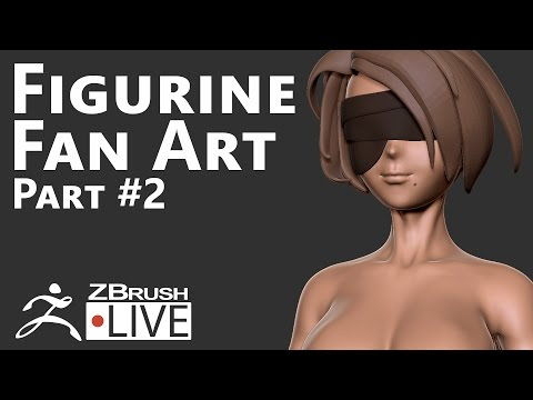 2B from NieR Automata #2 (Part 1): Proportions, Eyeband & Hair - Fan Art sculpting with ZBrush