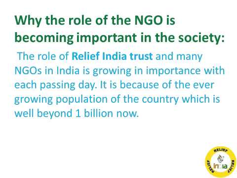 The Growing Importance and Role of Relief India Trust and other NGOs in the Country