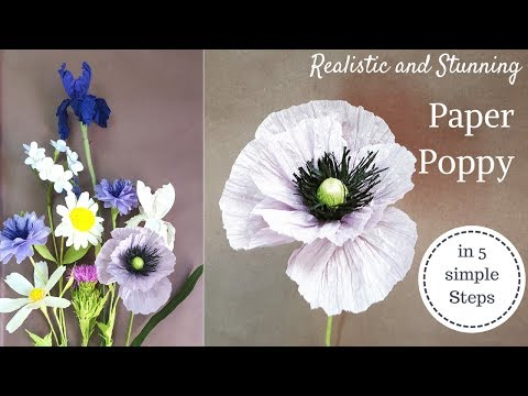 Paper flower, Paper poppy flowers from crepe paper and twisted paper