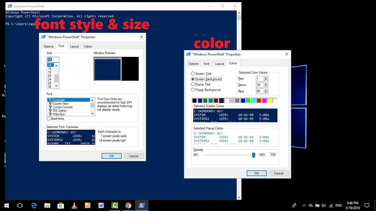 How to Change Windows Powershell Color, Font Size & Font Style in Windows  10 2018