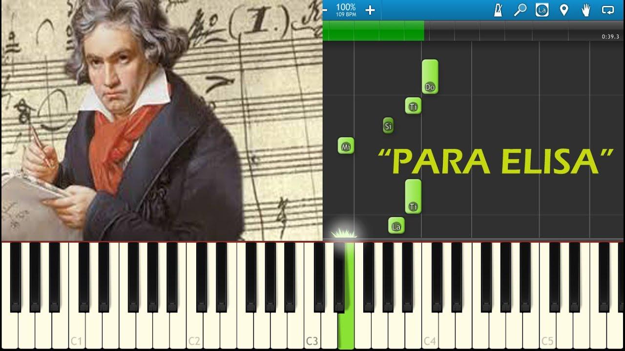 Beethoven / para elisa en piano / tutorial fácil youtube.