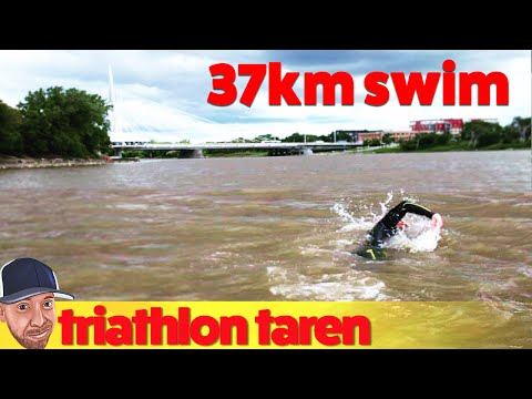 37km-9hour Open Water Marathon Swim in the Winnipeg Red River