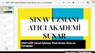 2007 AÖF Genel İşletme Final Sınavı Soru Cevapları