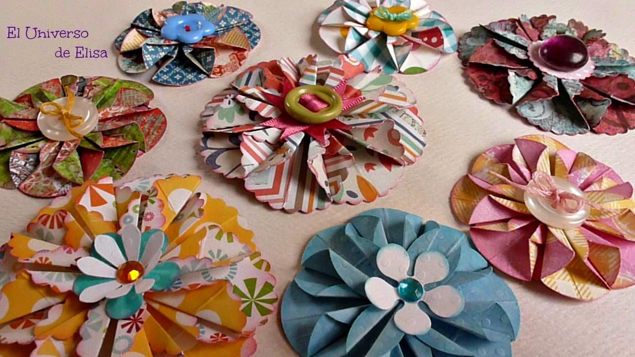 Flores de papel scrapbooking flores para tu organizador - Organizador de papeles ...