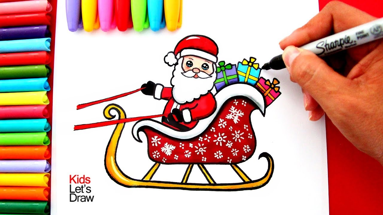 Aprende A Dibujar A Papá Noel En Su Trineo Kawaii How To Draw A Cute Santa Claus On His Sleigh Youtube
