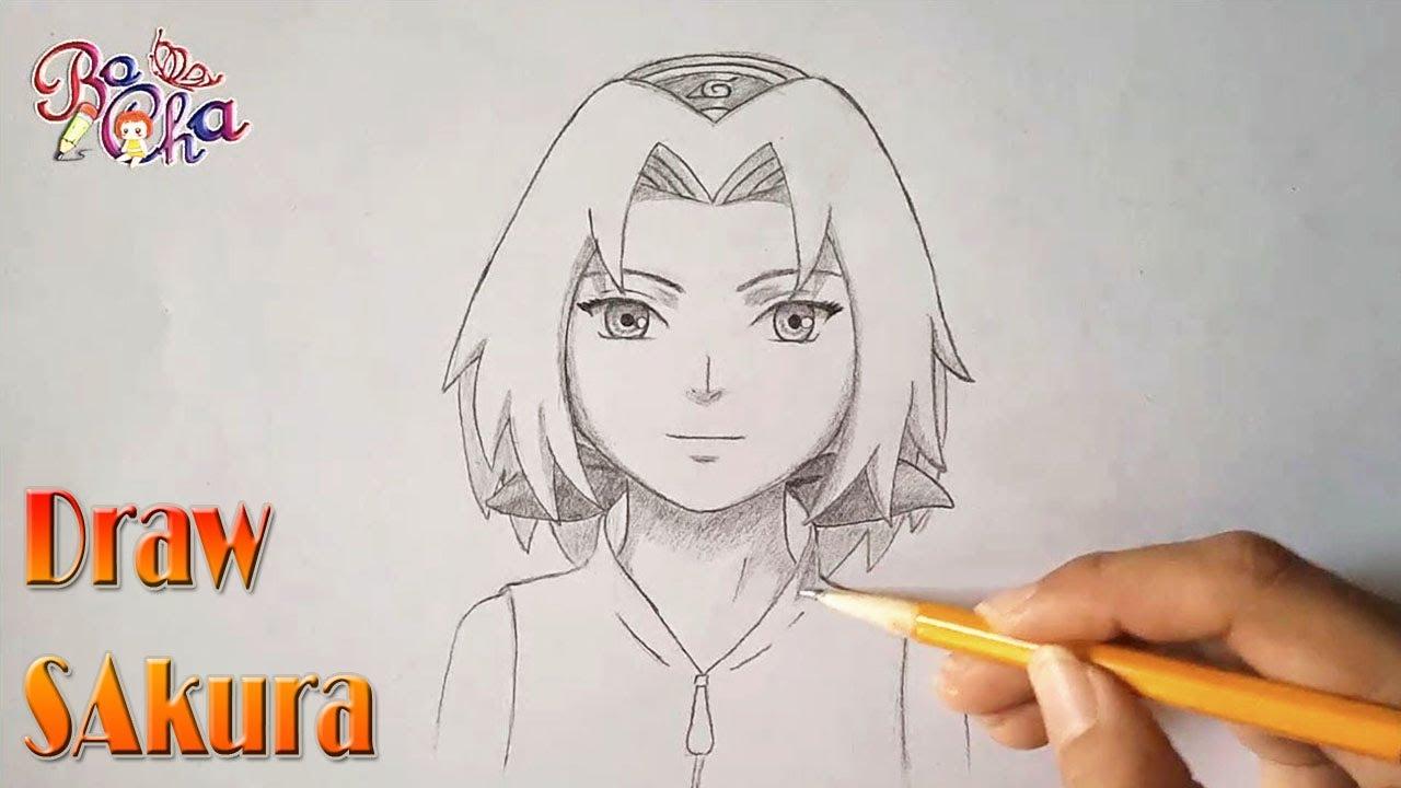 vẽ sakura haruno – naruto anime  – draw sakura haruno