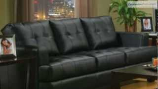 Samuel Black Leather Living Room Collection From Coaster Furniture