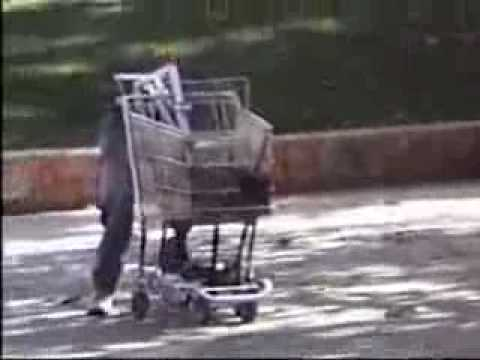 Crazy Flaming Robot Pushing a Shopping Cart Video