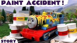 Thomas & Friends Paint Accident & Rescue | Paw Patrol Minions and Peppa Pig Clean Up With Play Doh