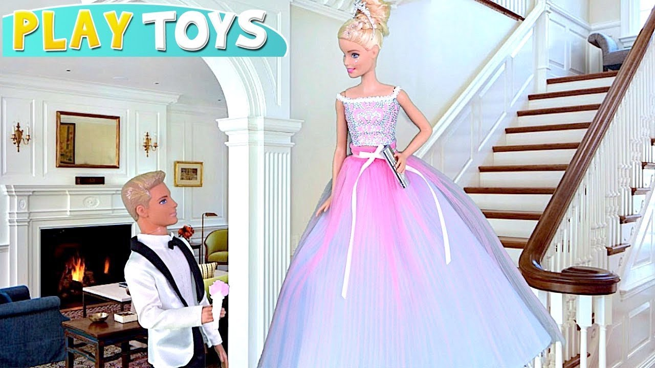 Barbie Girl Glam Prom Dress With Ken Baby Doll Toys