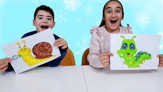 Cute girl and brother pretend play with Colorful animal is drawing