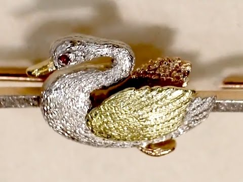15ct Yellow Gold, 15 ct Rose Gold & Platinum 'Swan' Brooch - Antique Circa 1900 - AC Silver  A1091