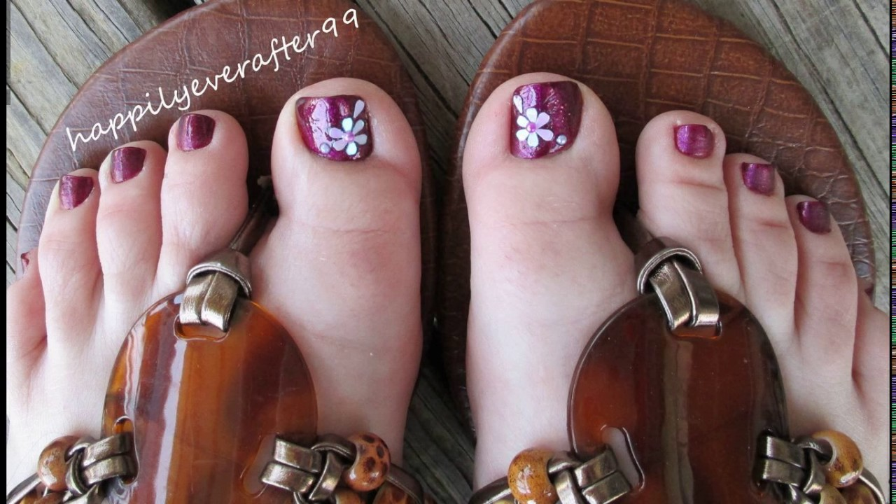 Big Toe Nail Flower Designs Youtube