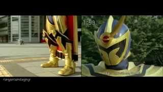 Power Rangers Mystic Force Solaris Knight First Appearance Split Screen (PR and Sentai version)