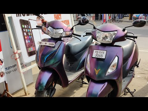 Honda Actica And TVS Jupiter Chameleon Multicolor Wrapping!!
