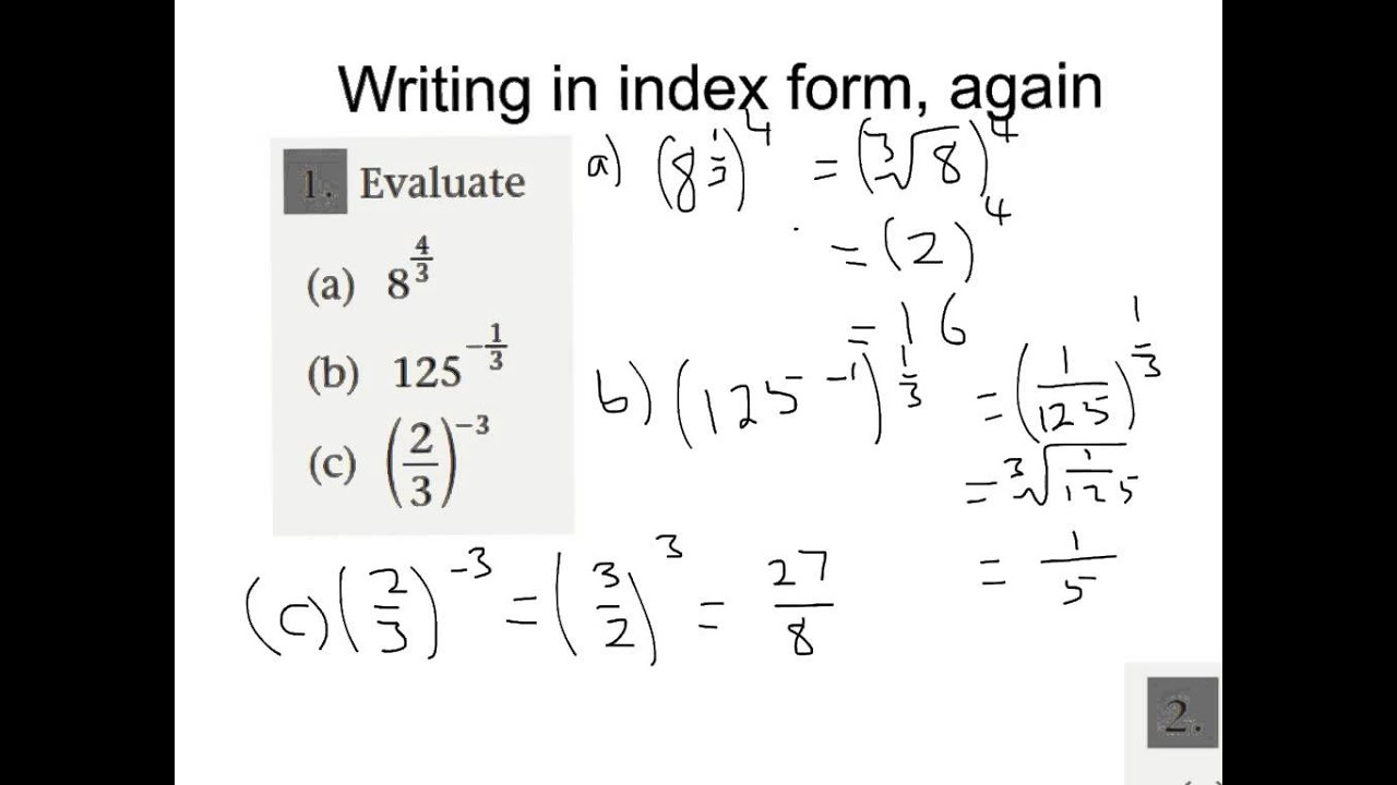 Writing in index form, again - YouTube