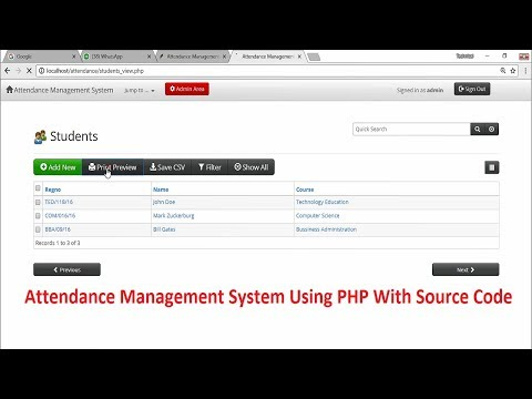 Attendance Management System Using PHP With Source Code