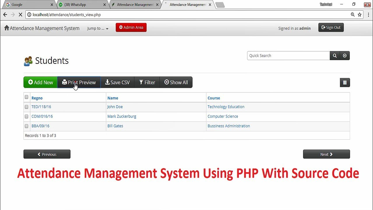 Attendance Management System Using Php With Source Code Youtube