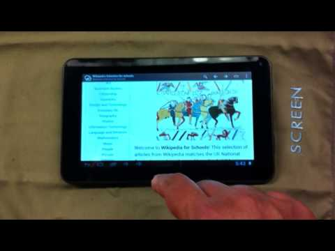 Wikipedia for Schools 2013 running with Kiwix Offline viewer on a USD $49 Xelio tablet from Walmart